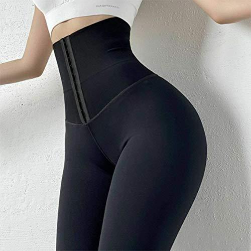 Pantalones Ajustados de Cintura Alta para Mujer Corsé Elástico Body Shaper Cintura Leggings de Fitness, Slim Sexy Corset Body Shaper Cintura Fitness Sports Leggins Pantalones de Yoga (Negro, XL)