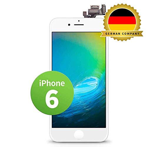GIGA Fixxoo kompatibel mit iPhone 6 LCD Touchscreen Retina Display Ersatz in Weiß für Einfache Reparatur, FaceTime Kamera (kein Set)
