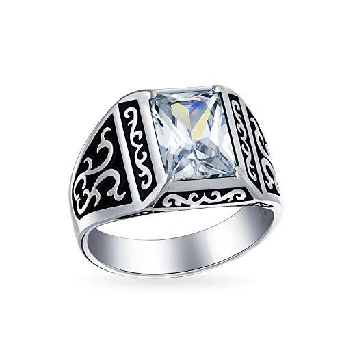 Emerald Cut Zirkonia Prong Set Viking Blättern Verlobungsring Für Herren Oxydiert 925 Silber Handgefertigt In Der Türkei