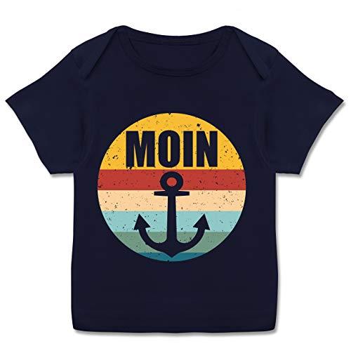 Sport Baby - Moin mit Anker Retro - 56-62 - Navy Blau - T-Shirt - E110B - Kurzarm Baby-Shirt für Jungen und Mädchen