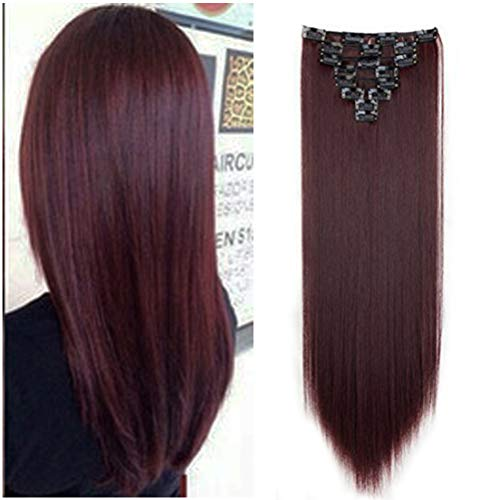 """8PCS Clip in Hair Extensions Straight Wavy Curly Full Head Women Colorful Highlight Ombre Hairpiece -26"""" Straight,Wine Red"""