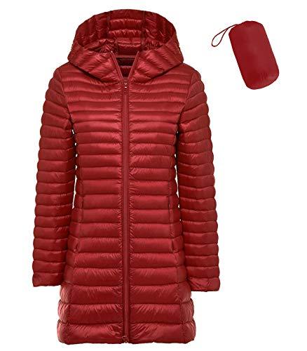 Sunseen Damen-Daunenmantel, leicht, Übergröße, mit Kapuze, schmal, warm, Outdoor, Sport, Reisen, Parka -  Rot -  X-Large