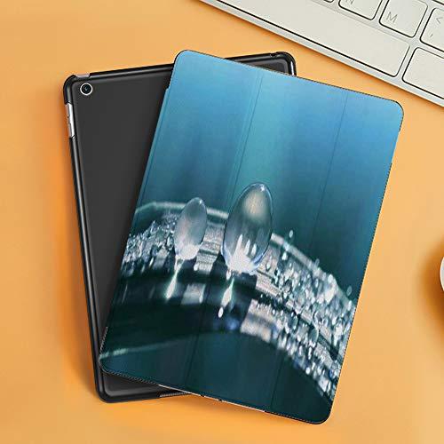 Funda iPad 10.2 Inch 2018/2019,Césped Hermoso Césped Transparente Estación Soleado Gota Agua Rocío Prado Naturaleza,Cubierta Trasera Delgada Smart Auto Wake/Sleep