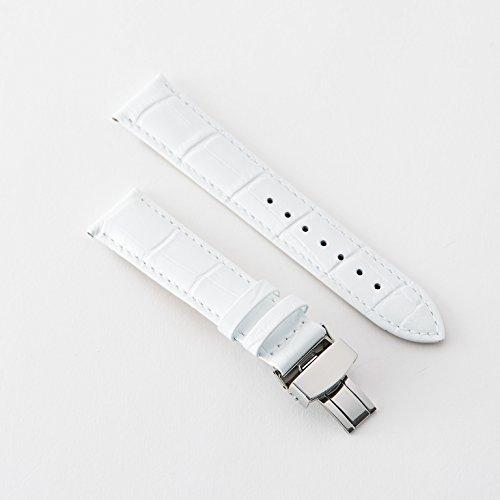『【タッチ・ザ・スカイ】Touch The Sky 腕時計 ベルト 本革 クロコダイル型押し ベルト白×ステッチ同色/18mm』のトップ画像