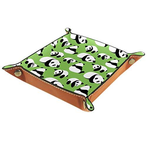 AITAI Bandeja de valet de piel vegana para mesita de noche, organizador de escritorio, plato de almacenamiento Catchall, bonito panda sobre fondo verde