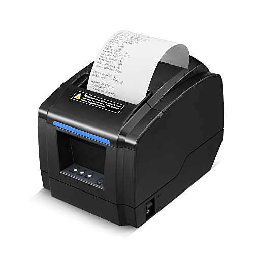 LOSRECAL Thermal Receipt Printer, Restaurant Kitchen Printer of Sound Reminder/Wall-Mount/Auto Cutter, 3 inches 80mm Desktop POS Bill Machine with USB/LAN/Cash Drawer Port, Support Windows