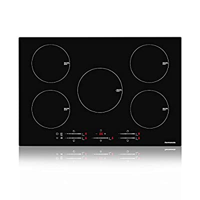 Electric Cooktop, thermomate 30 Inch Built-in Induction Stove Top, 240V Electric Smoothtop with 5 Boost Burner, 9 Heating Level, Timer & Kid Safety Lock, Sensor Touch Control & Keep Warm Function