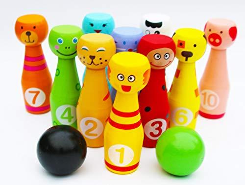 Toys of Wood Oxford Bowling Kinder Holzspielzeug - Kegelspiel für Kinder groß - Bowlingset mit 12 Kegeln und 2 Bowlingkugeln aus Holz