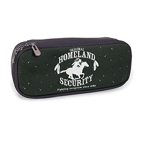 Homeland Security Fighting Terrorism From 1492 - Estuche para lápices de piel para niñas, niños y adultos, con soporte para bolígrafos