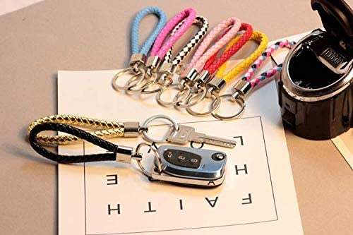 Beaugif Woven Key Chains Wallet Keychain Hand Bag Decoration Key Ring Car Keychains Tag