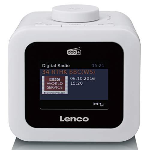 """Lenco CR-620 DAB+ Radiowecker - 3"""" TFT Farbdisplay - FM Empfänger - 40 Senderspeicher für FM und DAB+ - Alarm u. Schlummerfunktion - 2 Watt RMS - 3,5mm Anschluss - Weiß"""
