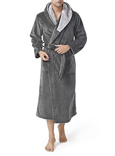 DAVID ARCHY Men's Hooded Robe Ultra Soft Plush Coral Fleece Warm Cozy Shawl Collar Long Bathrobe (L, Dary Gray)