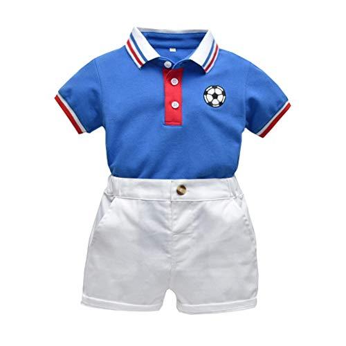 Cuteelf Baby Set Kind Baby Boy Gentleman Gestreiftes Fußball T-Shirt Top + Einfarbige Shorts Kurzarm Gestreiftes Fußball Print Top Shirt Einfarbige Shorts Gentleman Pack