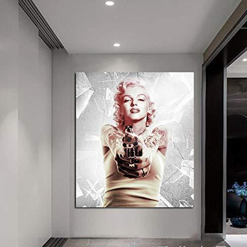wZUN Retrato Lienzo Pintura película Estrella Cartel Pintura Mural Arte Sala de Estar impresión de Imagen decoración del hogar 60x60cm Sin Marco