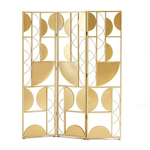 Even Metall 3-Panel Gate Raumteiler, kreatives geometrisches Design, Gold Luxury Screen Partition, Metall Schmiedeeisen,Partition Screens