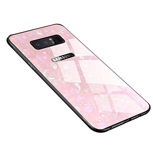 XLHLKP Samsung Galaxy Note 8 Case, Note 8 Conch Shell Case,Tempered Glass Conch Shell Pattern Back+TPU Frame Hybrid Shell Slim Case for Samsung Note 8 Case(2019) Anti-Drop (Conch Pink)