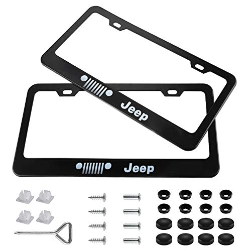 jiayuandz 2pcs Stainless Steel Frame Plate License for Jeep, Matte Black, with Screw Caps Cover Set (jeep2)