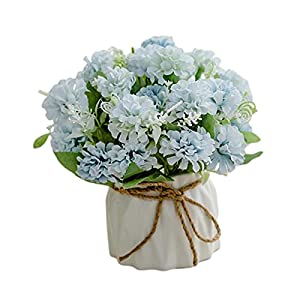 A/R Artificial Flowers with Vase Fake Silk Flowers in Vase Gardenia Flowers Decoration for Home Table Office Party