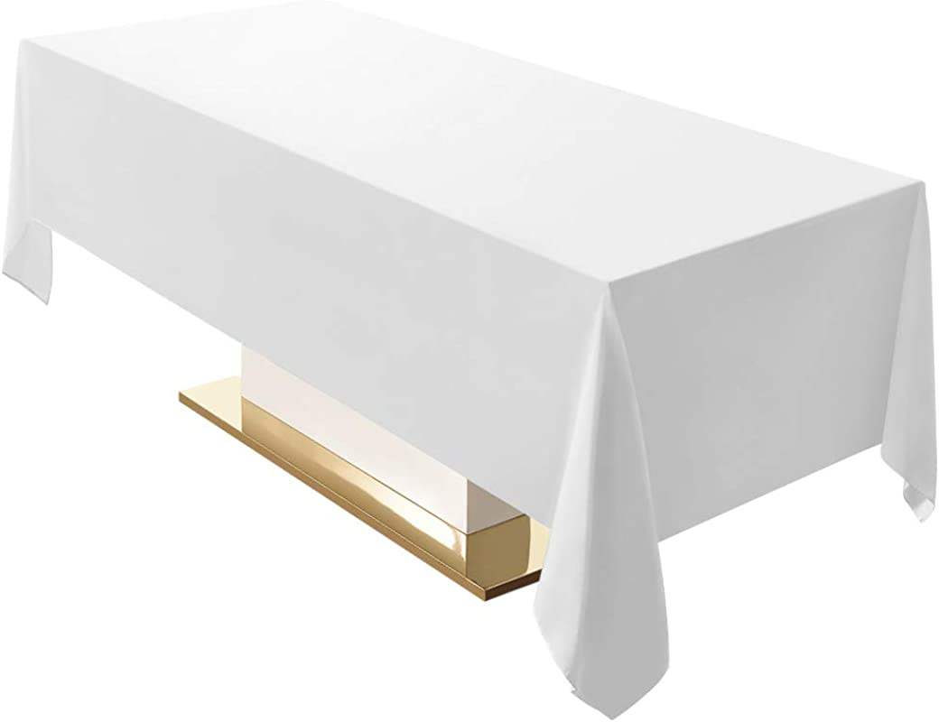 Surmente 60 X 102 Inch Tablecloth Rectangular Polyester Table Cloths For Weddings Banquets Or Restaurants White 2 Pack