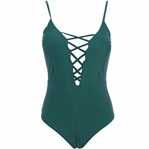 OnIn Women's Swimwear One Piece Swimsuits Push Up Bikini Bathing Suits GreenLarge