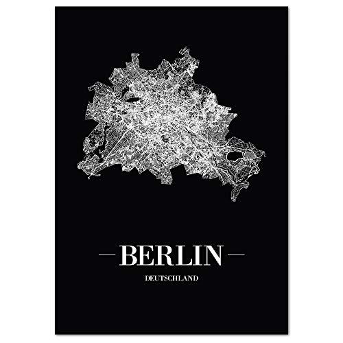 JUNIWORDS Stadtposter, Berlin, Wähle eine Größe, 30 x 40 cm, Poster, Schrift A, Schwarz