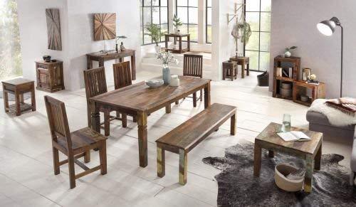 WOHNLING Couchtisch Kalkutta 60 x 47 x 60 cm , Massivholz Beistelltisch Shabby-Chic , Wohnzimmer Tisch aus Bootsholz , Sofatisch quadratisch