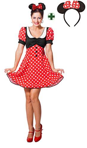 Karneval-Klamotten Minnie Mouse Kostüm Damen Minnie Maus-Kostüm Karneval Damen-Kostüm mit Ohren Größe 42