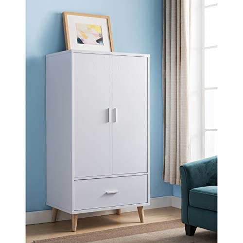 Best Review Of Modern White 2-Door Wardrobe Armoire Mid-Century MDF Painted Includes Hardware