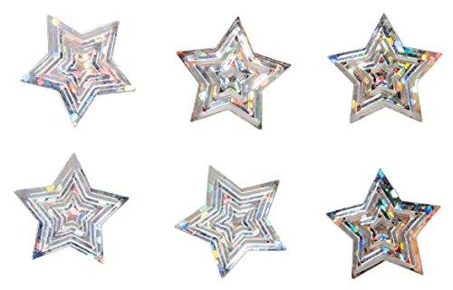 Rayher 39493608 Pailletten Streuteile, Sterne, 1, 6 cm Ø, Silber Irisierend