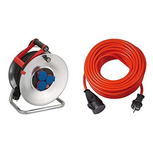Brennenstuhl Garant S IP44 Kabeltrommel (50m - Stahlblech, kurzfristiger Einsatz im Außenbereich) silber & Bremaxx Verlängerungskabel (10m Kabel, für den Einsatz im Außenbereich IP44) orange