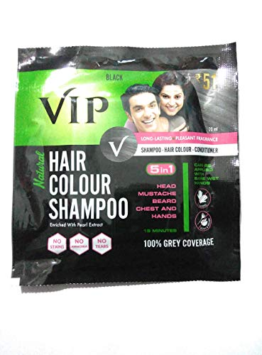 VIP Hair Colour Shampoo, Black, 20 ml (Pack of 5)