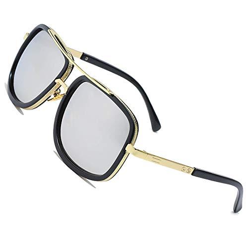 Große Retro Sonnenbrillen Marken Metall Rahmen Pilot Platz Spiegel Brillen herren damen Gold/Silber