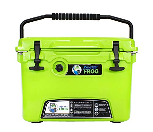 Frosted Frog Original Green 20 Quart Ice Chest Heavy Duty High Performance Roto-Molded Commercial Grade Insulated Cooler