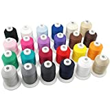 New brothread 24 Basic Colors Multi-Purpose 100% Mercerized Cotton Threads 30WT(50S/3) 600M(660Y) Each Spool for Quilting, Sewing and Embroidery
