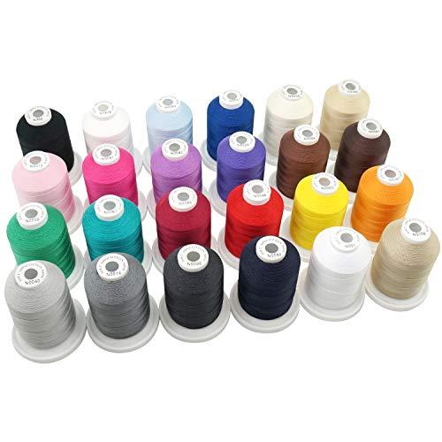 New brothread 24 Colores Básicos multipropósito Hilo de algodón 100% mercerizado 30WT (50S/3) 600M para acolchar, coser y bordar