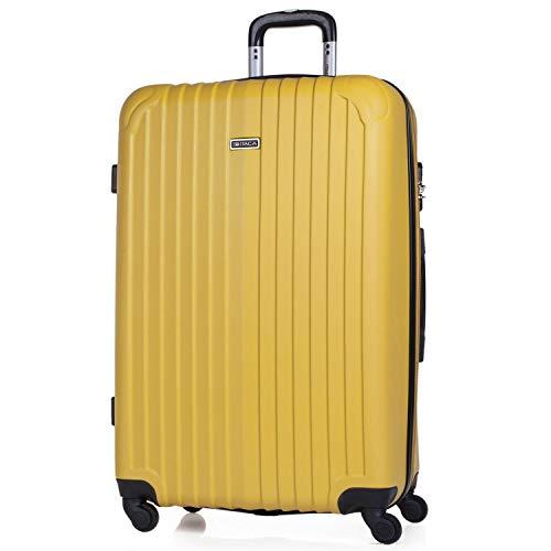 ITACA - Maleta de Viaje Grande XL rígida 4 Ruedas Trolley 76 cm de abs. Dura Extensible y Ligera. Gran Capacidad. Estudiante y Profesional. candado Integrado. t71570, Color Mostaza