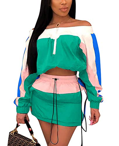 Women's Windbreaker 2 Piece Outfits Long Sleeve Loose Crop Top and Short Striped Pants Tracksuit Set Green