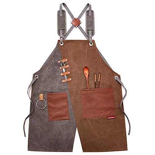 Delantal para herramientas, delantal de carpintero de lona encerada con bolsillos y correa ajustable, delantales de carpintero de lona para trabajo pesado, para carpintería, taller (Gray)