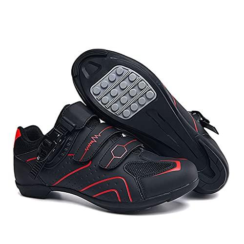 BSTL Fahrradschuhe rutschfest und Atmungsaktiv, Carbon Fiber Road und Mountainbike Schuh, Reflektierende Streifen Turnschuhe,Red-42