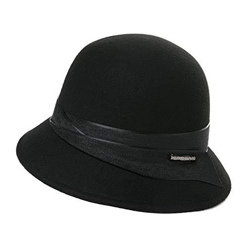 Fancet  100% Wolle Vintage Glockenhut 1920s Retro Hut Damen Melone Hut, M, 99339_Schwarz