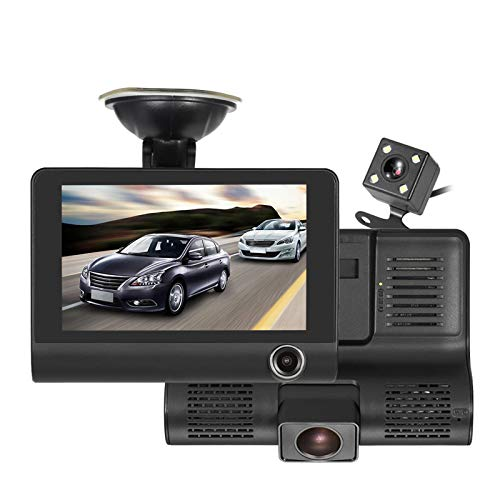 Car Dash Cam Front and Inside Video Recorder Rear Camera Dual Dash Cam with 4 inch Reverse Full Screen Driving Recorder DVR HD 1080P Night Vision Parking Mode Seamless Recording
