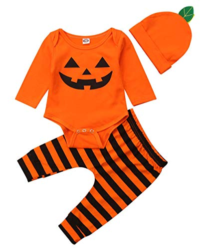 Wamvp Disfraz de Calabaza para recién Nacido, Infantil Halloween Recien Nacido Niña Niño Bebe Monos de Calabaza Tops con Sombrero de Raya + Sombrero