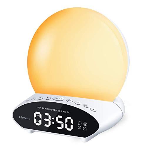 Wake Up Licht Wecker, Lichtwecker Sonnenaufgang Sonnenuntergang Simulation,20 Helligkeit, 10 natürlichen Klängen,7 Farben Nachtlicht und FM Radio