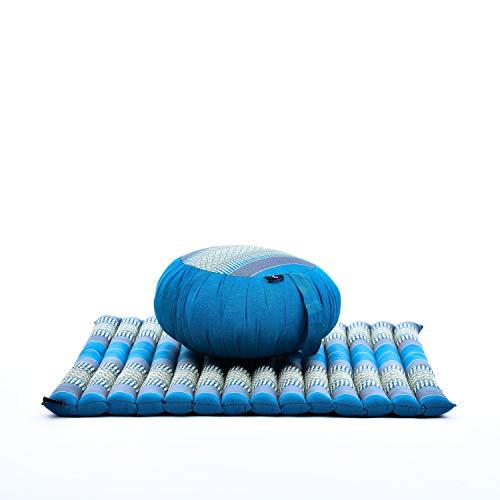Leewadee Ensemble De Coussins De Méditation Set Yoga Coussin Zafu Rond Et Grand Tapis Zabuton Carré pour S'Asseoir Au Sol Produit Naturel Et Écologique, Kapok, Bleu Clair