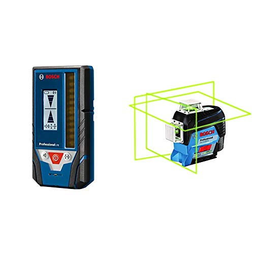 Bosch LR8 Line Laser Receiver with Bosch GLL3-330CG 360-Degree Green Beam Three-Plane Leveling and Alignment-Line Laser
