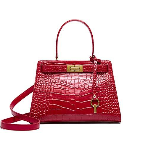 JKLGNN Damen Leder Umhängetasche Classic Crocodile Embossed Schulter Messenger Bag Kelly Bag mit langem Schultergurt Top Griff Tote Bag,Rot