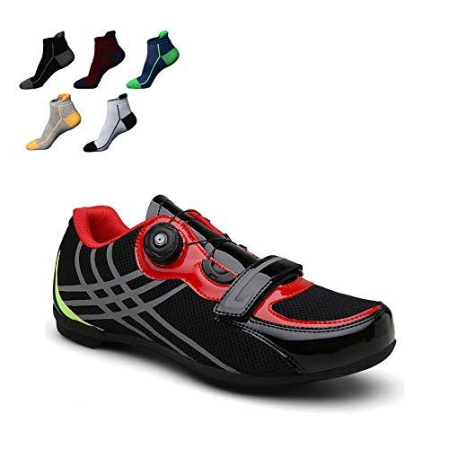 Zapatilla De Ciclismo MTB Zapatillas De Bicicleta De Carretera con Cierre Rotativo De Alta Precisión Y Rayas Reflectantes Sin Cerradura La Mejor Opción para Principiantes,39