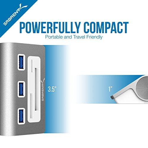 Sabrent USB HUB Premium 3 Port Aluminium USB 3.0 Hub mit Multi-In-1 Kartenleser (30 cm Kabel) für iMac, MacBook, MacBook Pro, MacBook Air, Mac Mini, oder jeder PC (HB-MACR)