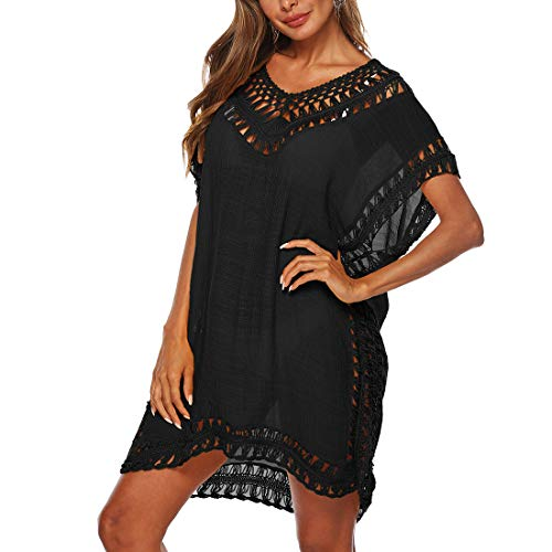 Adisputent Strandkleid Damen Sommerkleid V-Ausschnitt Sexy Oversize Boho Minikleid Spitze Strandponcho Sommer T-shirt Strandurlaub Bademode...