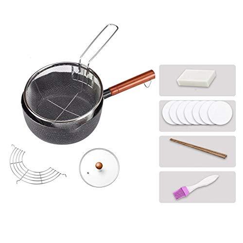 UUMFP Poêle à Frire de 8 po antiadhésive avec Couvercle Saute Pan Friteuse dédiée Poêles Rondes Poignée en Bois Anti-brûlure, pour cuisinière à gaz/cuisinière à Induction